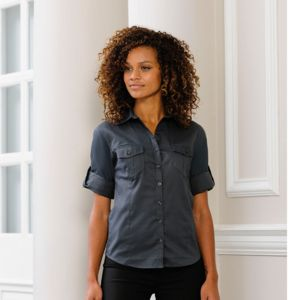Women's roll-sleeve ¾ sleeve shirt Thumbnail