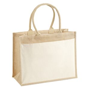 Cotton pocket jute shopper Thumbnail