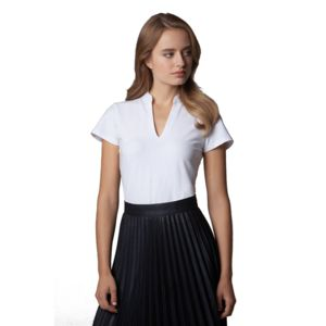 Women's corporate short-sleeved top v-neck mandarin collar (regular fit) Thumbnail
