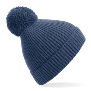 Engineered knit ribbed pom pom beanie Thumbnail
